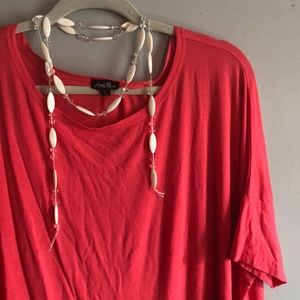 Anna Lane Women's Tunic Top Coral Large